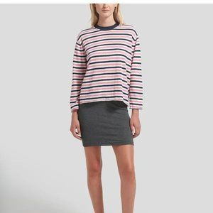 ATM Striped Pink White Navy Crew Neck Sweater